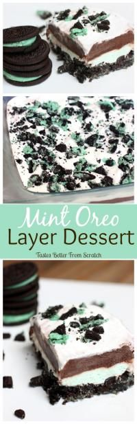 Oreo Layer Dessert Mint Oreo Layer Dessert on - An Easy No-bake dessert that everyone will LOVE!Mint Oreo Layer Dessert on - An Easy No-bake dessert that everyone will LOVE! Mint Desserts, Layered Desserts, Brownie Desserts, Easy No Bake Desserts, Pudding Desserts, Delicious Desserts, Dessert Recipes, Yummy Food, Baking Desserts