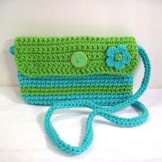Turquoise and Green Crochet Crossbody Bag.  , via Etsy.
