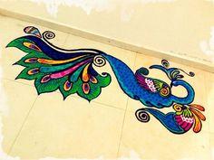 Peacock rangoli Henna Peacock, Rangoli Designs Peacock, Rangoli Designs Diwali, Beautiful Rangoli Designs, Peacock Design, Diy Diwali Decorations, Rangoli Ideas, Indian Rangoli, Diwali Diy