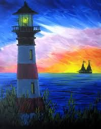 Lighthouse painting with sailboat in the sunset, beginner painting idea.