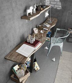 cajas de madera recicladas en cajoneras. Madera natural, acero y gris en las paredes