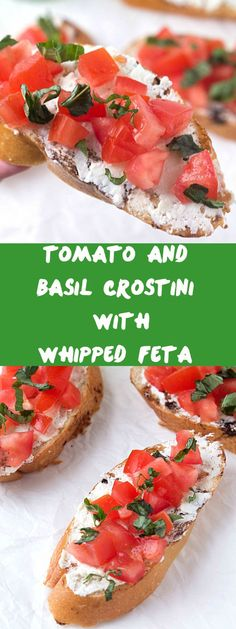 Crunchy crostini with zesty, tangy, creamy whipped feta, then topped with diced tomatoes and garnished with fresh basil. If you love crostini appetizers or whipped feta crostini, you are going to LOVE this! Recipes Appetizers And Snacks, Appetizer Dips, Yummy Appetizers, Crostini, Bruschetta, Tapas, Gluten Free Puff Pastry, Whipped Feta, Appetisers