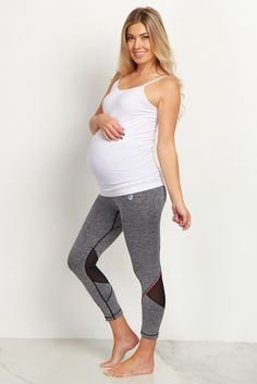 These stylish active cropped maternity leggings are a must-have when it comes to active wear. A back ventilation detail allows you to keep cool while you workout, and a four-way stretchy material will keep you comfortable. Style these with a maternity tank and put on your running shoes for a complete outfit.