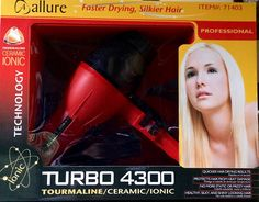 Allure Turbo 4300 Tourmaline/Ceramic/Ionic Hair Dryer >>> Click on the image for additional details.