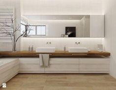 Wood look floor White recessive towel rail