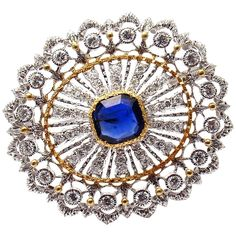 Buccellati Sapphire Diamond Two Color Gold Brooch Pin | From a unique collection of vintage brooches at https://www.1stdibs.com/jewelry/brooches/brooches/