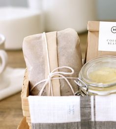 Jenny Steffens Hobick: Packaging Baked Goods in Your Kitchen - banana bread, coffee beans, and whipped honey butter.