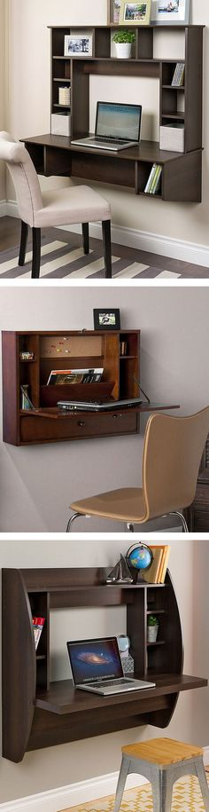 Floating Wall Mount Desk // #office #decor #spacesaving