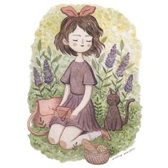 Looking forward to be sitting in the grass embraced by nature? //What is your favorite Studio Ghibli movie? Cartoon Drawings, Cute Drawings, Doodle Characters, Studio Ghibli Movies, Guache, Love Illustration, Illustrations, Cute Art, Art Inspo