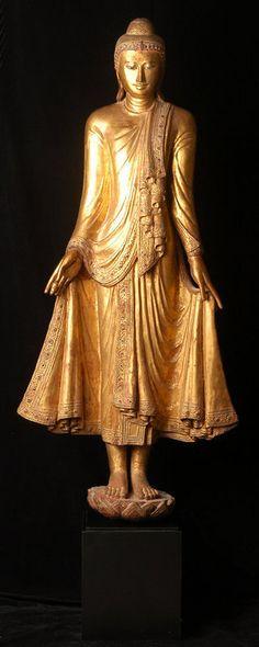 19th C., Mandalay, Large Burmese Wooden Standing Buddha