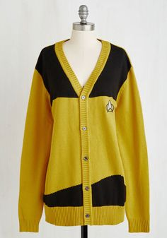 Set Phasers to Stunning Cardigan in Goldenrod - Yellow, Novelty Print, Print, Sci-fi, Nifty Nerd, Cosmic, Knit, Better, Variation, V Neck, Long, Cotton, Black