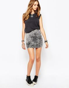 Noisy May Love Losy Tube Skirt With Bleach Wash Co-ord