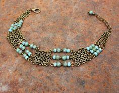Bracelet bohème hippie chic perles en verre : Bracelet par les-3-oranges