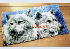 Hot Latch Hook Rug Kits DIY Needlework Unfinished Crocheting Rug Yarn Cushion Mat Wolf Brothers Embroidery Carpet Free Shipping