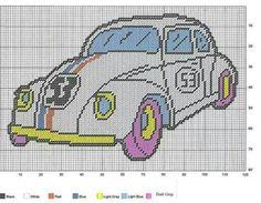 Herbie the love bug pc pattern Cute Cross Stitch, Beaded Cross Stitch, Cross Stitch Charts, Cross Stitch Embroidery, Cross Stitch Patterns, Crochet Patterns, Plastic Canvas Crafts, Plastic Canvas Patterns, Frozen Pattern
