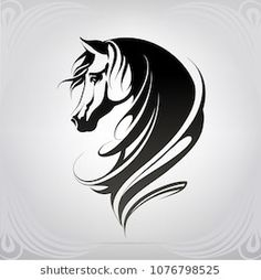 Find Vector Silhouette Horses Head stock images in HD and millions of other royalty-free stock photos, illustrations and vectors in the Shutterstock collection. Thousands of new, high-quality pictures added every day. Horse Head Drawing, Horse Drawings, Horse Stencil, Stencil Art, Silhouette Girl, Silhouette Vector, Tattoo Caballo, Horse Tattoo Design, Running Horses