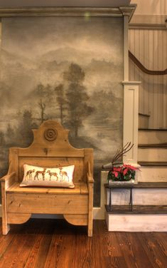 Our client wanted an ethereal panoramic mural to customize walls in her kitchen and entryway. Featuring flora and fauna along with woodland creatures. A fox, racoon, deer and bald eagle dot the misty landscape. Residential Interior Design, Wall Finishes, Racoon, Mural Painting, Woodland Creatures, Metallic Paint, Ethereal, Bald Eagle, Art Decor