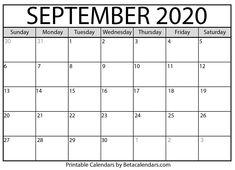 Printable September 2020 Calendar - Beta Calendars throughout Blank Calendar Template For Kids Free Calendars To Print, Print Monthly Calendar, Printable Calendar Template, Calendar 2020, Calendar Design, Creative Calendar, Tamil Calendar, September Calendar