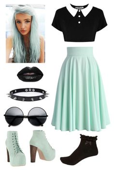 """Pastel Goth"" by pipertehcat ❤ liked on Polyvore featuring Chicwish, Jeffrey Campbell, Lime Crime, Trend Cool, ZeroUV and pastelgoth"