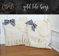Bridesmaid Tote Bags - Gold Personalized Tote Bag - Bridal Party Tote Bags - Personalized Bridesmaid Bags - Bridesmaid Gift Bags by TheWhiteInviteGifts on Etsy https://www.etsy.com/listing/518691467/bridesmaid-tote-bags-gold-personalized