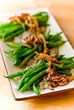 Deconstructed Green Bean Casserole. vegan. This looks so yummy, and the best part is it doesn't use prepackaged anything.