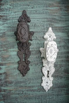 Ornate Wrought Iron Gate Pulls / Antique Door Gate Entry Pull Handles / Cabinet Pull Handles / Gate Hardware / Gate Handle / Texas Decor
