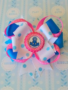 NAUTICAL HAIR BOW. Sailor Bow. Hair bow for girls. by pixieclip, $7.95