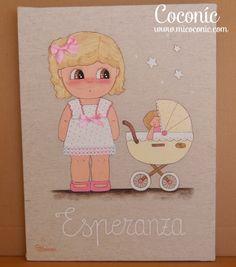 COCONIC: Cuadro infantil pintado a mano de niña con carrito de muñecas, totalmente personalizado.