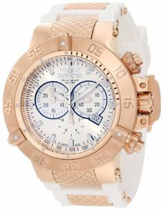 Invicta 11831 Men's Subaqua Noma III Swiss Quartz Chronograph Rose Tone and White Watch Invicta. $319.99. Swiss quartz movement. Chronograph functions with 60 second, 30 minute and 1/10th of a second subdials with silver tone and white hands; date window at 4:00. Water-resistant to 500 M (1640 feet). Flame-fusion crystal; 18k rose gold ion-plated stainless steel case; white silicone strap with 18k rose gold ion-plated stainless steel accents. Silver tone dial with silver ton...