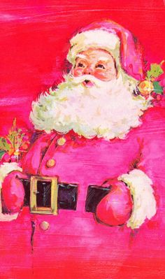 Vintage Christmas Card Santa Claus with Pink Tones Christmas Card Messages, Christmas Graphics, Vintage Christmas Cards, Retro Christmas, Vintage Holiday, Christmas Colors, Christmas Greetings, Christmas Blessings, Christmas Past