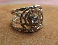 925 sterling silver ring with white topaz by silveringjewelry