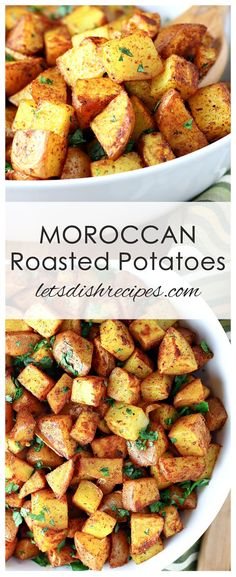 potato recipes Moroccan Roasted Potatoes Recipe: Potatoes are tossed with olive oil, cumin, turmeric, cinnamon, paprika and other seasonings in this uniquely spiced side dish the whole family will love. Vegetable Side Dishes, Vegetable Recipes, Vegetarian Recipes, Cooking Recipes, Healthy Recipes, Veggie Food, Cooking Tips, Salad Recipes, Morrocan Food