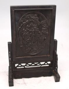 Chinese Carved Wood Screen on Stand - Oriental Carving - Fu Lu Shou   eBay