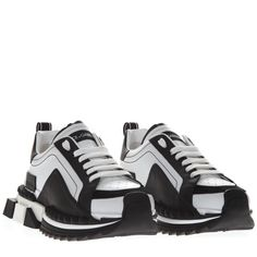 fd33f8eb9d DOLCE   GABBANA SUPER KING TWO COLOR LEATHER SNEAKERS.  dolcegabbana  shoes