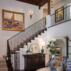 For this Manhattan Beach home we built the collection around key California plein-air paintings such as the large work going up the stairway. Circa 1910 by Karl Yens it captured the Southern California light perfectly. The wife was more traditional and the husband more contemporary so the collection also includes contemporary and vintage photography, and abstract works on paper and canvas. Photo cred: Grey Crawford. #manhattanbeach #pleinair #paintings #traditionalinteriors #photography…