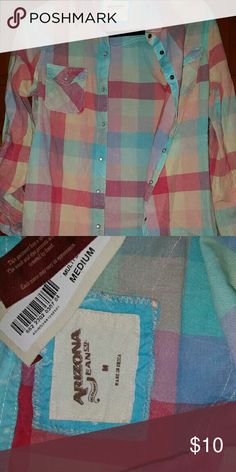 BNWT Arizona flannel size M Super cute and bright Arizona plaid butting down shirt! Size M and ready for a new closet! Smoke free home, make me an offer and don't forget to bundle! Arizona Jean Company Tops Button Down Shirts