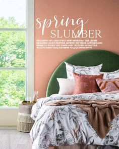 The most stylish of Spring Slumbers 💚 Stylist Sami Simper evokes the tones and textures of nature with our Stella bedhead in this month's Home Beautiful. Real Living Magazine, Custom Valances, Dream Apartment, Velvet Cushions, Bed Head, Upholstered Chairs, Storage Boxes, Textures Patterns, Linen Bedding