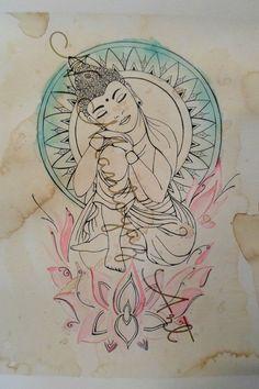 Buddha mit Mandala, Aquarell & Kaffee-Malerei