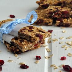 Low-fat Granola Bars with Bananas, Cranberries, and Pecans ~ http://www.circleofmoms.com/recipe/low-fat-granola-bars-bananas-cranberries-pecans?trk=home_recipe_summary