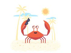 Crab Story – Greetings designed by Valentin Kirilov for Motion Authors. Connect with them on Dribbble; Sand Glass, Beach Sunglasses, Motion Design, Say Hi, Motion Graphics, Tweety, Pikachu, Behance, Animation