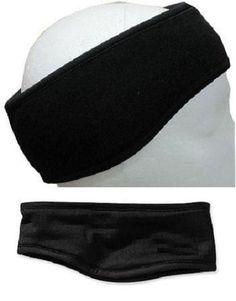 Black Polar Fleece Velcro Headband Earmuffs Winter Head Ear Band Snowboard