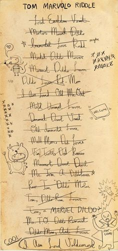 Tom Riddle tries out some different names...