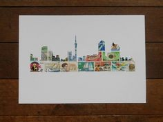 Auckland Skyline Stamp ArtKiwi  Love from Felt Re - Pinned by The Vintage Traveler NZ