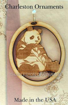 Engraved Wooden Custom PANDA Ornament FREE Personalization by PalmettoEngraving #pandaornament #handmadeholiday