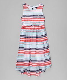 Bai's 4th of July dress! Look at this Nautica Aqua Stripe Chiffon Hi-Low Dress - Infant, Toddler & Girls on #zulily today!