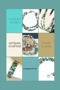 This Southwest colors bracelet features glass beads in shades of turquoise, blue, bronze, white, gold, and brown. Three strands wrap around the wrist and connect with a stainless steel magnetic clasp. The bracelet fits a 7-3/4 inch wrist, but if you need a larger size, just let me know. I can add a jump ring or two to make it happen. #jewelrybyscotti