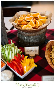 """Little Lumberjack Party Orange """"Wedges."""" For more photos and ideas go to http://www.lauriebracewellphotography.com/little-lumberjack-1st-birthday-party/"""