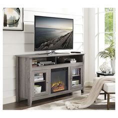Enjoy This Attractive Charcoal Finish Tv Console With Fireplace In Your Home A