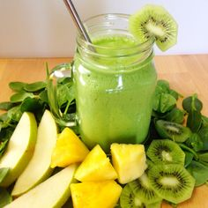 High Fiber Boost 2c spinach, 1 kiwi, 1/2 pear, 1/4c pineapple, 1/2tsp flaxseed, 1c coconut water