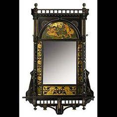 aesthetic movement | Aesthetic movement ebonised gilt painted mirror